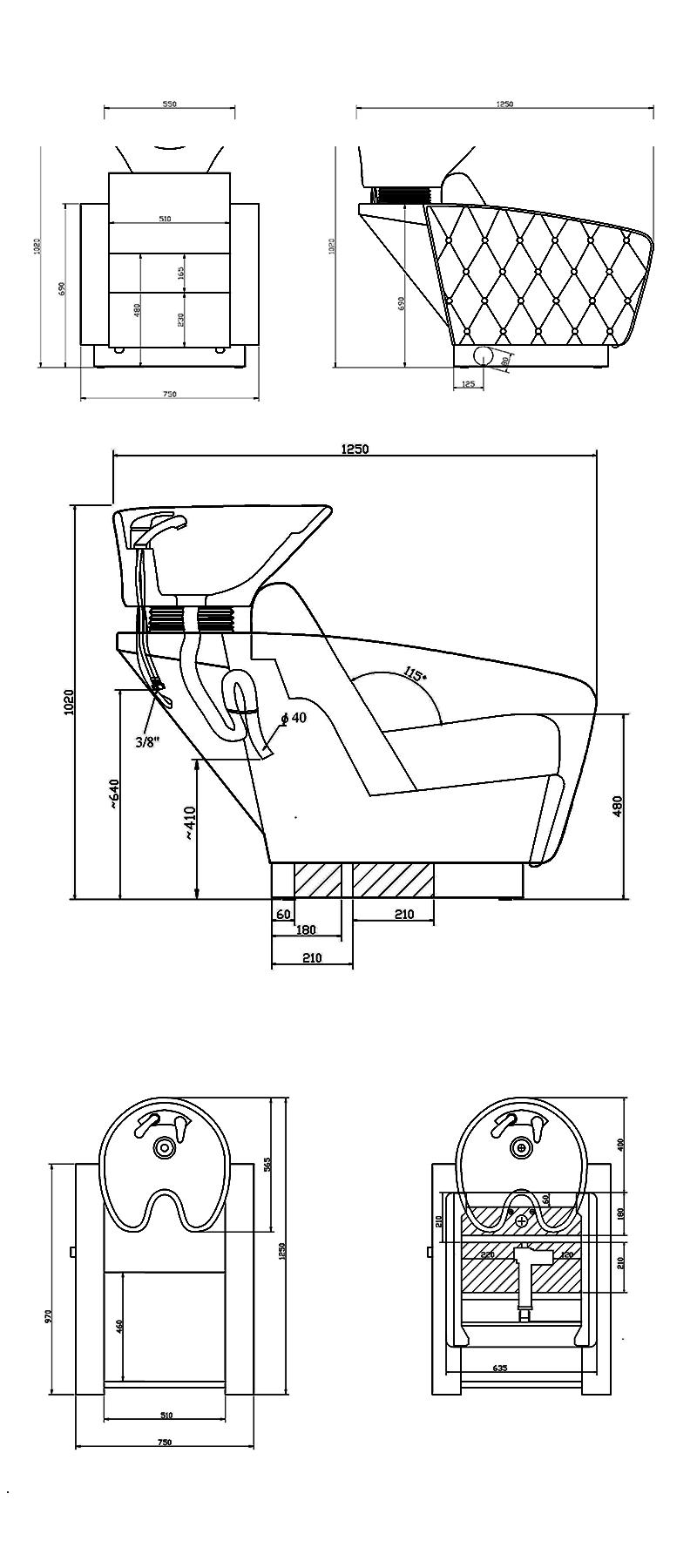 Waschsessel 14039 techische Daten
