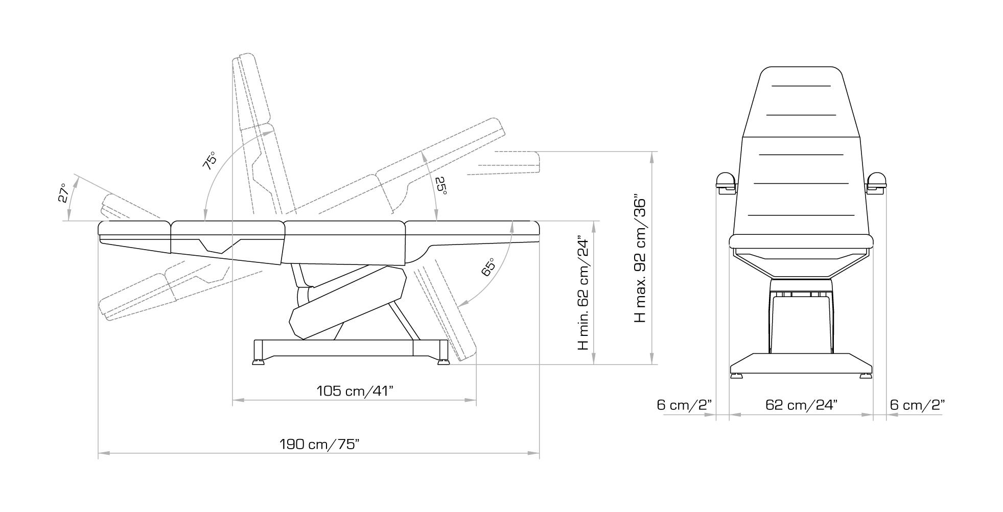 Technische Zeichnung der Lemi 4 Kosmetikliege 1600 E-4 LM