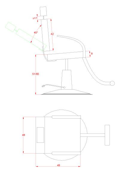 Zeichnung vom Make-Up Stuhl 12007 SF