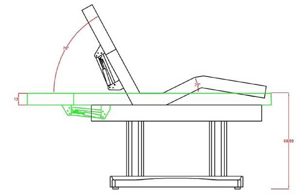 Technische Zeichnung Wellnessliege WL.660 E-4.SF.A